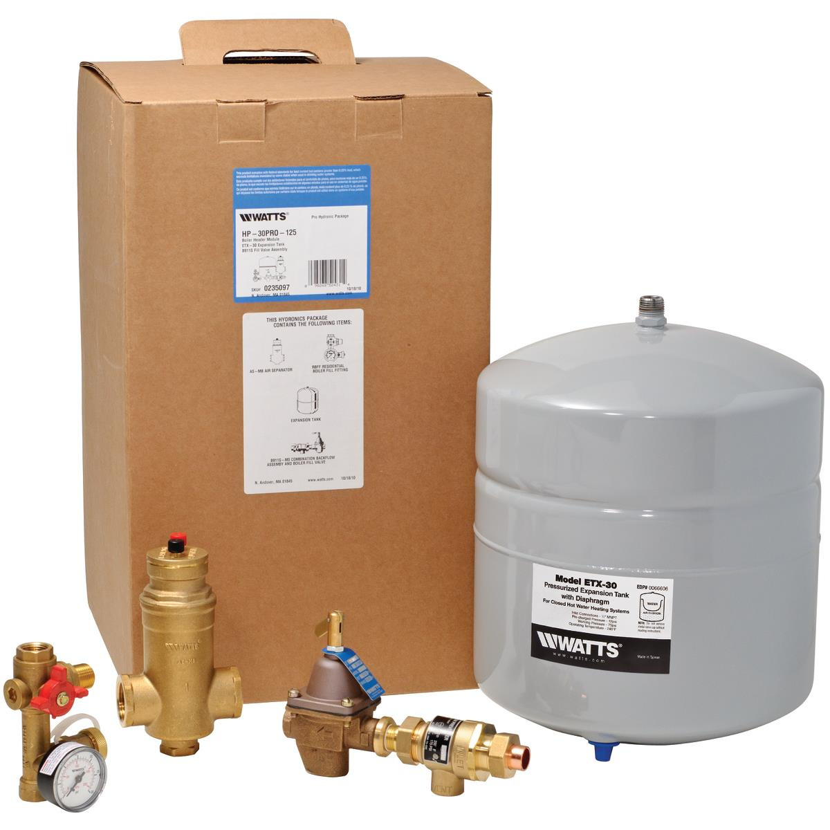 """WATTS, 1"""", BOILER HEADER, HYDRONIC PACKAGE,"""