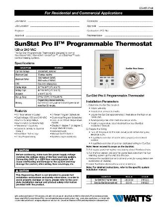 Thumbnail for SunStat Pro II Submittal (500775)