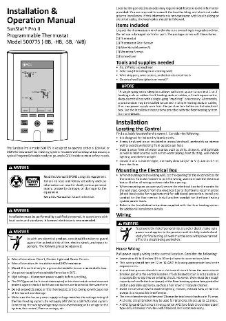 Thumbnail for SunStat Pro II Owners Manual (500775)