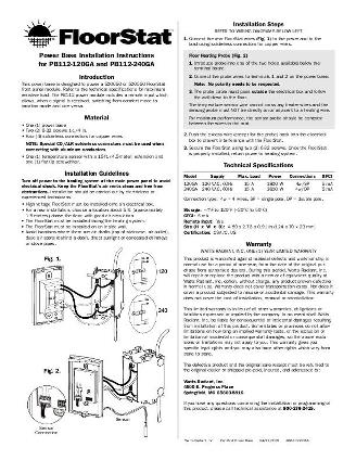 Thumbnail for FloorStat Power Base Manual (PB112) (2007)