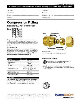 Thumbnail for RadiantPEX-AL Compression Fittings Specification
