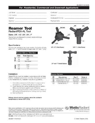Thumbnail for RadiantPEX-AL Reamer Tool Specification