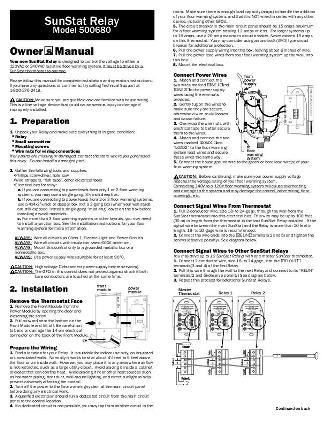 Thumbnail for SunStat Relay Owners Manual (500680)